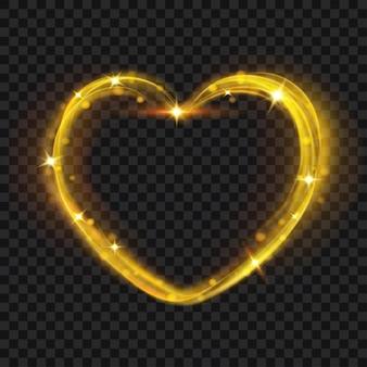 Efeitos de luz abstratos em forma de coração em cores douradas