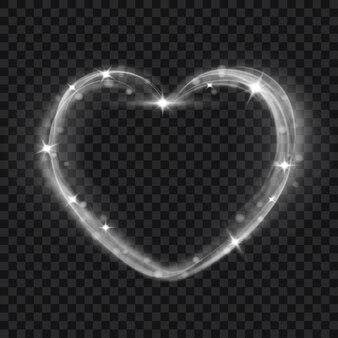 Efeitos de luz abstratos em forma de coração em tons de cinza