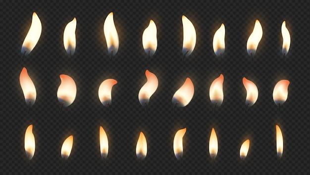 Efeitos de luz de fogo realistas para velas acesas de bolo de aniversário