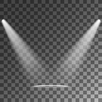 Efeitos de luz de fundo transparente de holofotes