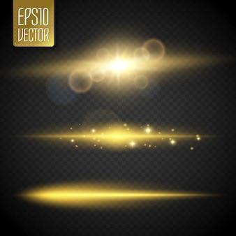 Efeitos de luz de reflexo de linha especial para design e decoração. luzes douradas. vetor