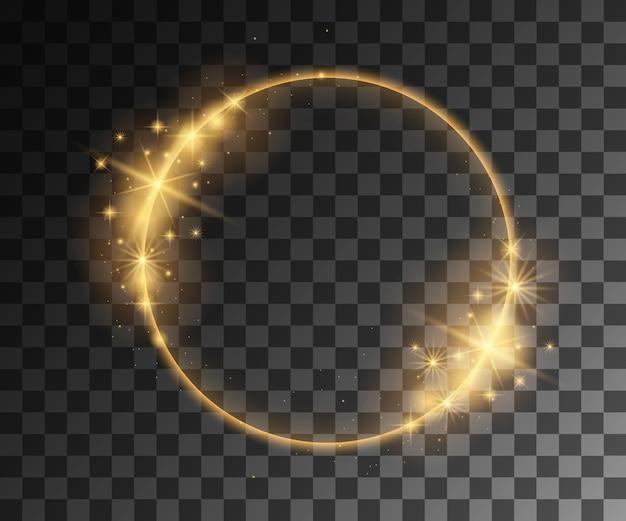 Efeitos de luz de vetor dourado com decoração de partículas
