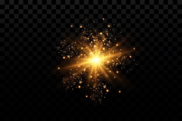 Efeitos de luz definem estrelas douradas e partículas brilhantes