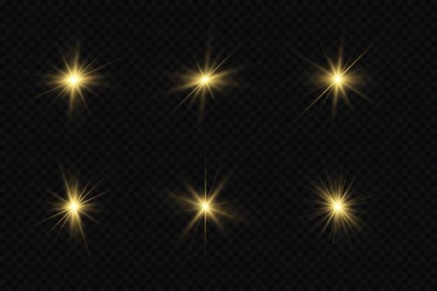 Efeitos de luz definem estrelas douradas