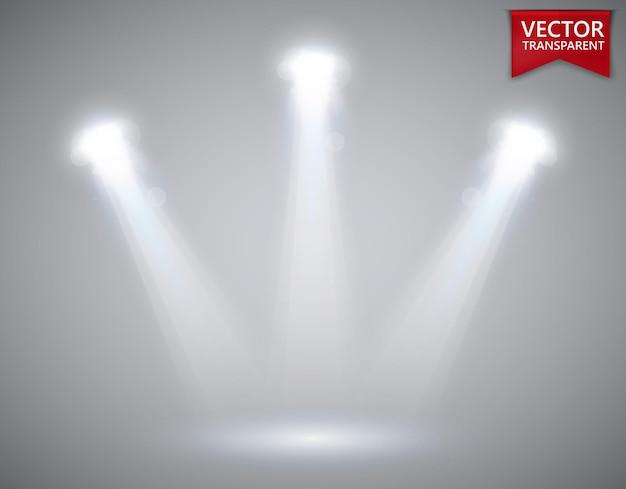 Efeitos de luz transparente de cena de holofotes. refletor de luz de palco.