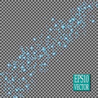Efeitos de luzes brilhantes azuis isolados