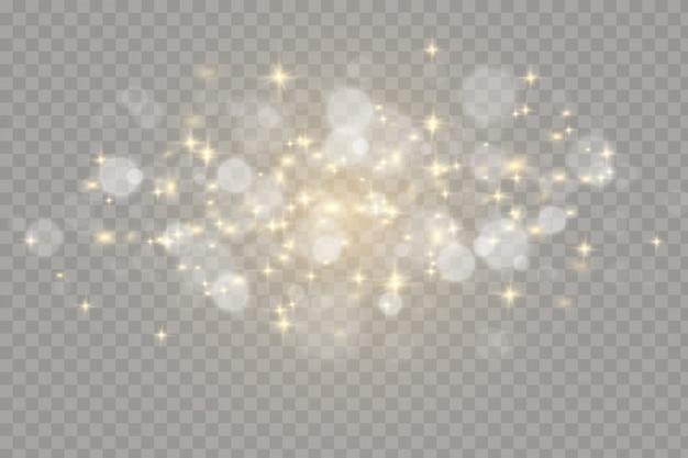 Efeitos de luzes brilhantes isolados. efeito de luz brilhante .. faíscas brancas e estrelas douradas brilham efeito especial de luz.