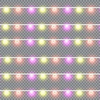 Efeitos de luzes de decorações de natal de guirlandas