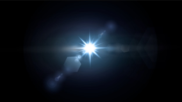 Efeitos de neon ou azul light glow flare stars.