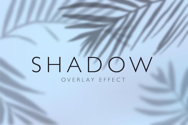 Efeitos de sobreposição de sombra com ilustração de fundo de folhas tropicais