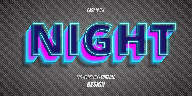 Efeitos de texto 3d editáveis com fontes futuristas modernas e cores azuis neon brilhantes com um tema de vida noturna.