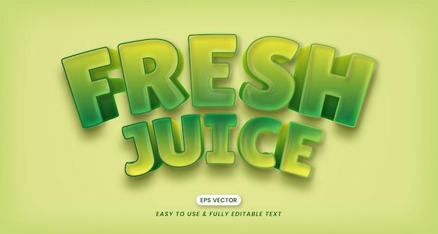 Efeitos de texto 3d editáveis de suco fresco criativo