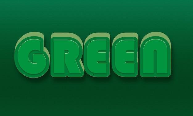 Efeitos de texto 3d verdes, fontes fáceis editáveis e personalizáveis