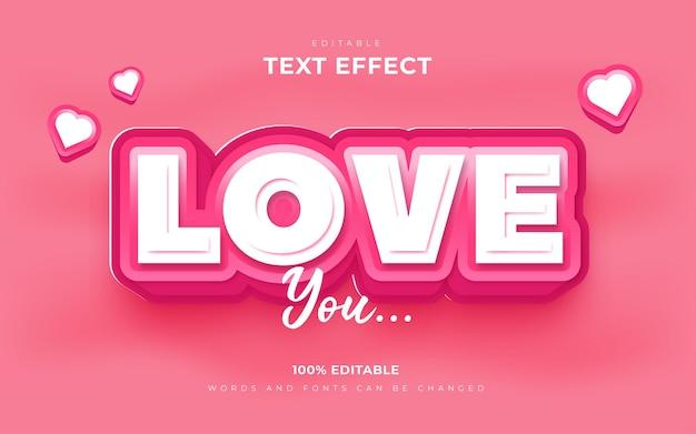 Efeitos de texto amoroso em rosa suave