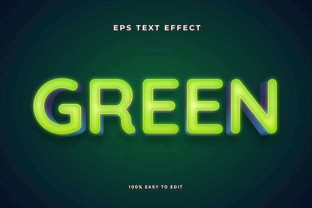 Efeitos de texto de luz de neon verde