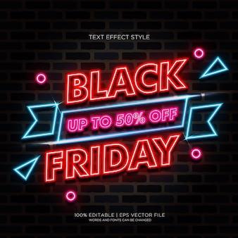 Efeitos de texto de neon claro limitado de black friday