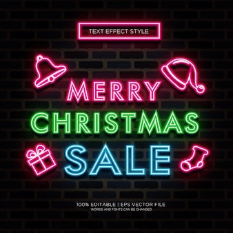 Efeitos de texto de neon de venda de feliz natal