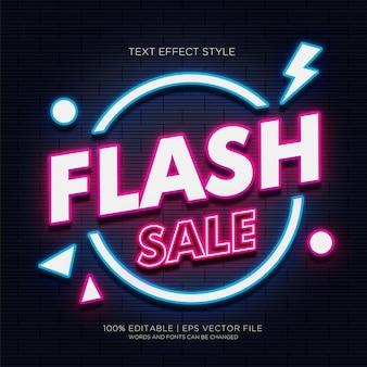 Efeitos de texto de néon de venda flash