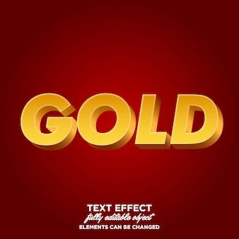 Efeitos de texto de ouro 3d minimalistas