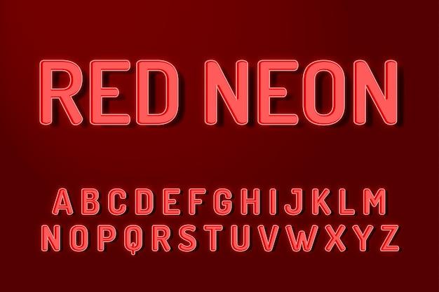 Efeitos de texto do alfabeto de fonte de néon vermelho