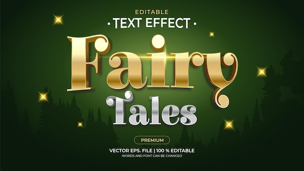 Efeitos de texto editáveis de contos de fadas