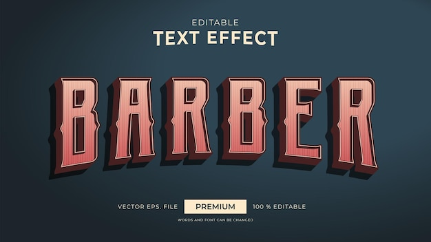 Efeitos de texto editáveis de estilo vintage de barbeiro