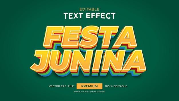 Efeitos de texto editáveis de festa junina