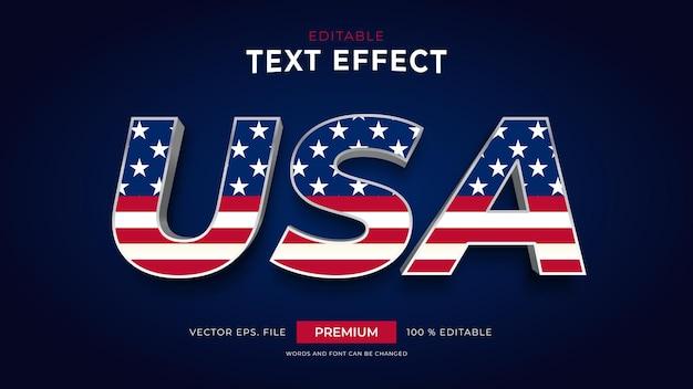 Efeitos de texto editáveis dos estados unidos da américa