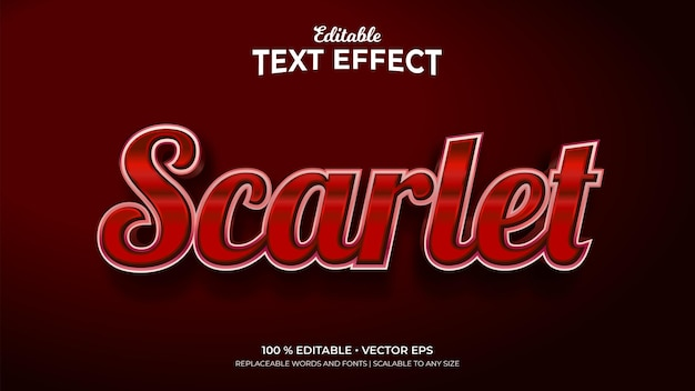 Efeitos de texto editáveis em estilo 3d escarlate