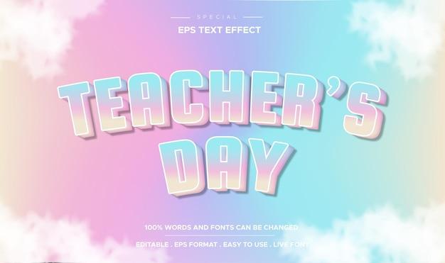 Efeitos de texto editáveis, estilo de texto colorido do dia do professor