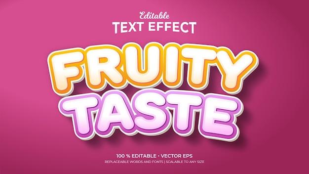 Efeitos de texto editáveis fruity taste