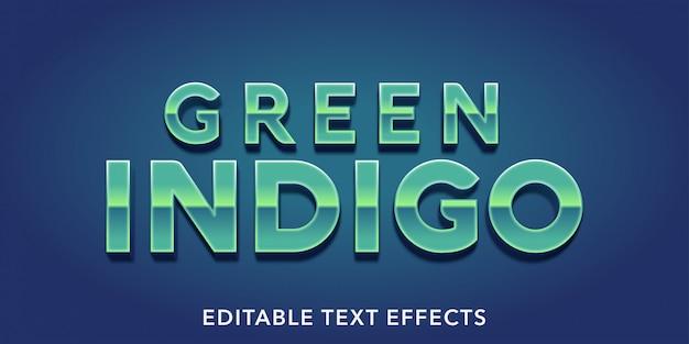 Efeitos de texto editáveis indigo verde