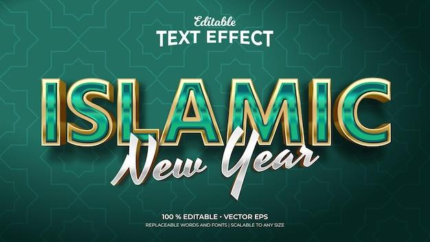 Efeitos de texto editáveis no estilo 3d islâmico de ano novo