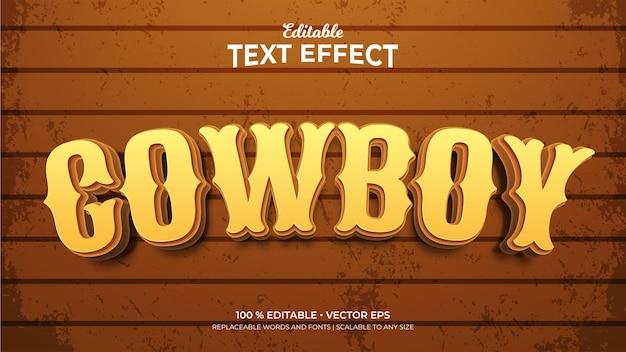 Efeitos de texto editáveis no estilo cowboy 3d