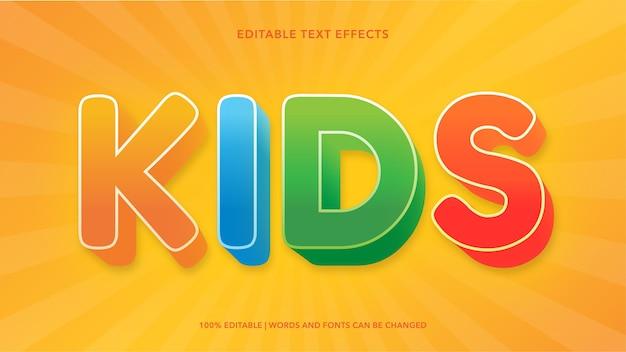 Efeitos de texto editáveis para crianças