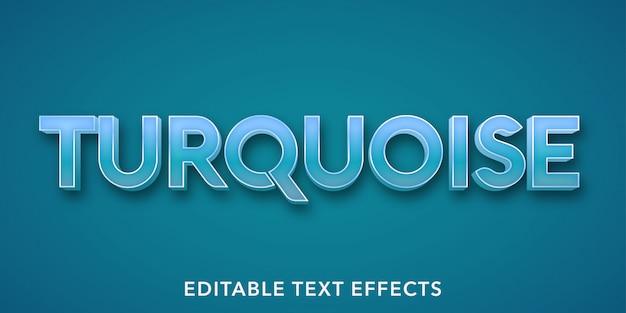 Efeitos de texto editáveis turquesa