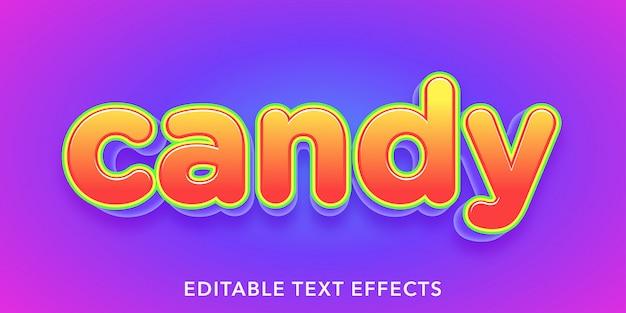 Efeitos de texto editável de doces