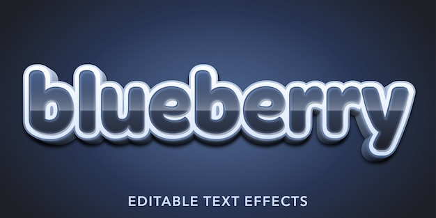 Efeitos de texto editável de mirtilo