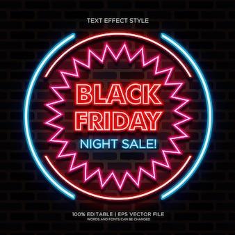 Efeitos de texto néon de venda de noite de sexta-feira preta