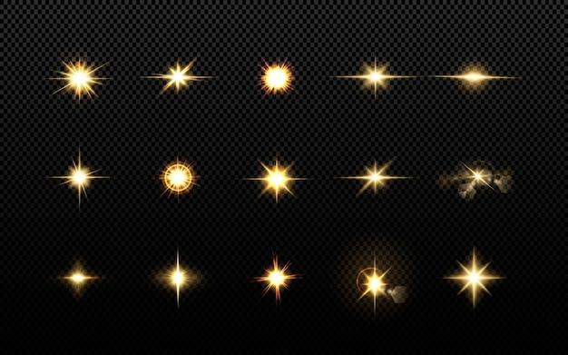 Efeitos, reflexo de lente, brilho, explosão, luz dourada, conjunto. estrelas brilhantes, lindos raios dourados.