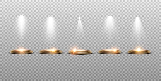 Efeitos transparentes da coleção de iluminação de cena. iluminação brilhante com holofotes