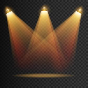 Efeitos transparentes de spot light iluminação amarela brilhante com focos isolados