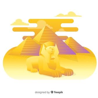 Egito antigo paisagem com design plano