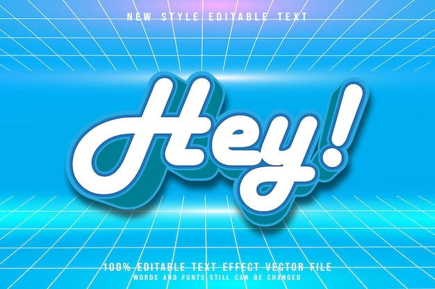 Ei, efeito de texto editável em relevo estilo anos 80