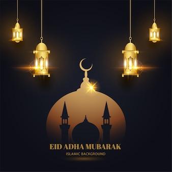 Eid adha mubarak com fundo dourado preto com mesquita e lanterna com design islâmico