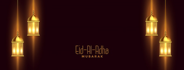 Eid al adha banner com decoração lanterna islâmica