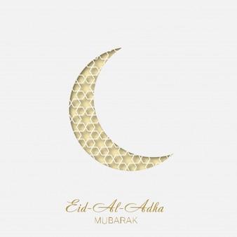 Eid al adha cartão com crescente