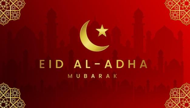 Eid al adha cartão com tema gradiente de cores vermelho e ouro.