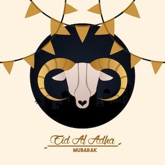 Eid al adha cartão de celebração com cabeça de cabra e guirlandas