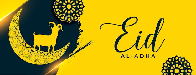 Eid al adha design de banner amarelo do festival